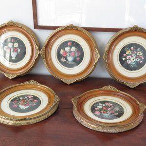 Circular Artwork, L. Hillhouse, Floral, Wood and Plaster Frame (Gold Toned)